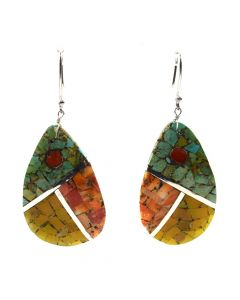 "Mary C. Aguilar - Santo Domingo Contemporary Multi-Stone Channel Inlay and Silver Hook Earrings, 2.625"" x 1.125"" (J12013)"