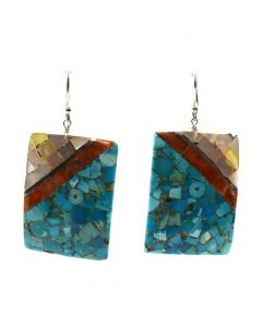"Mary C. Aguilar - Santo Domingo Contemporary Multi-Stone Inlay and Silver Hook Earrings, 2.25"" x 1.125"" (J12014)"
