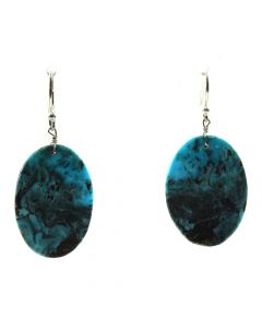 "John K. Aguilar - Santo Domingo Contemporary Kingman Turquoise and Silver Hook Earrings, 1.75"" x 0.75"" (J12015)"