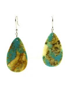 "John K. Aguilar - Santo Domingo Contemporary Kingman Turquoise and Silver Hook Earrings, 2.125"" x 0.875"" (J12016)"