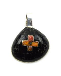 """Mary C. Aguilar - Santo Domingo Contemporary Jet and Spiny Oyster Inlay and Silver Shell Pendant with Cross Design, 2.5"""" x 2"""" (J12018)"""