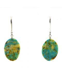 "John K. Aguilar - Santo Domingo Contemporary Kingman Turquoise and Silver Hook Earrings, 1.5"" x 0.625"" (J12019)"