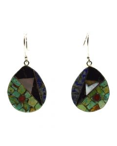 "Mary C. Aguilar - Santo Domingo Contemporary Multi-Stone Inlay and Silver Hook Earrings, 1.875"" x 1"" (J12021)"
