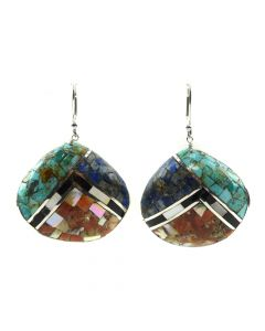 "Mary C. Aguilar - Santo Domingo Contemporary Multi-Stone Channel Inlay and Silver Shell Hook Earrings, 2.125"" x 1.5"" (J12025)"