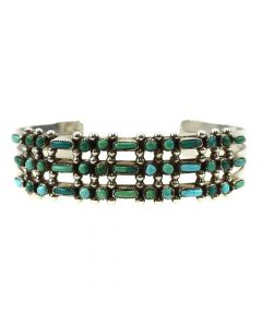 Zuni Turquoise and Silver Bracelet c. 1940s, size 6.5 (J12030)