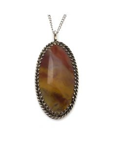 "Navajo Agate and Sterling Silver Pendant c. 1960s, 1.75"" x 1"" (J12031)"
