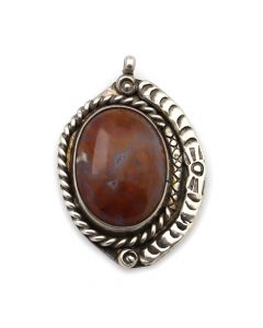 "Navajo Petrified Wood and Silver Pendant c. 1940s, 1.5"" x 1"" (J12033)"