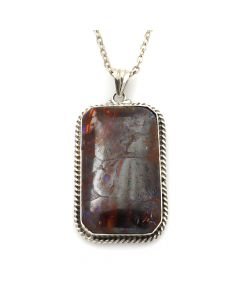 "Navajo Boulder Opal and Silver Pendant and Chain c. 1970s, 15"" length (J12039)"
