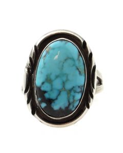 Billy Slim - Navajo Turquoise and Silver Ring c. 1980s, size 2.5 (J12044)