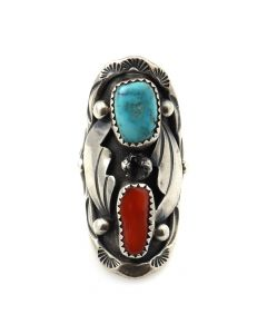 Margaret Lee (b. 1952) - Navajo Turquoise, Coral, and Silver Ring with Stamped Design c. 1970s, size 6 (J12048)