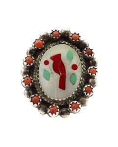 Antonio Yazzie - Navajo Multi-Stone Inlay and Silver Cardinal Ring c. 1980s, size 7 (J12049)