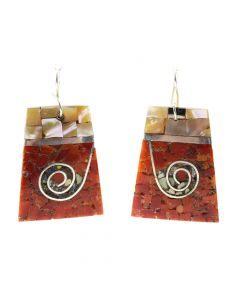 "Mary C. Lovato - Santo Domingo (Kewa) Contemporary Multi-Stone Chip Inlay and Silver Hook Earrings with Spiral Design, 1.875"" x 1.25"" (J12059)"