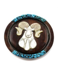 """Bessie Manning and Mike Platero - Zuni and Navajo Mother of Pearl, Kingman Turquoise, Ironwood, and Silver Belt Buckle with Ram Design c. 1981, 3.75"""" x 3.5"""""""