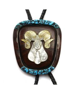 """Bessie Manning and Mike Platero - Zuni and Navajo Mother of Pearl, Kingman Turquoise, Ironwood, and Silver Bolo Tie with Ram Design c. 1981, 3.75"""" x 3.5"""""""