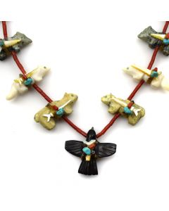 """Zuni Multi-Stone Animal Fetish and Coral Beaded Necklace c. 1970s, 26"""" length (J12065)"""