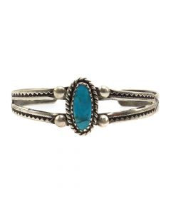 Navajo Turquoise and Silver Child's Bracelet c. 1940s, size 4.5 (J12075) 1