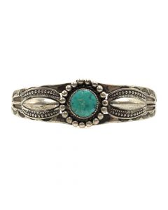 Navajo Turquoise and Silver Bracelet c. 1940s, size 6 (J12077)