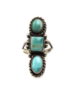 Navajo Turquoise and Silver Ring c. 1940s, size 5 (J12090)