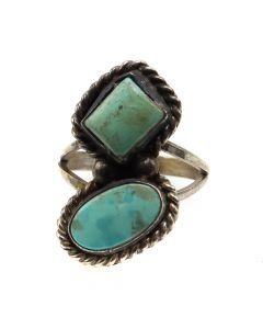 Navajo Turquoise and Silver Ring c. 1940s, size 6 (J12091)