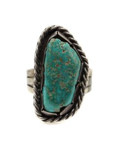 Navajo Turquoise and Silver Ring c. 1940s, size 8.25 (J12093)