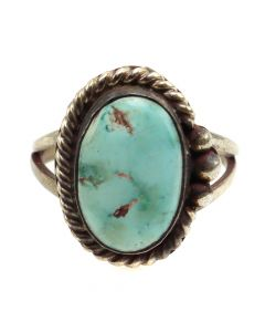 Navajo Turquoise and Silver Ring c. 1940s, size 6.5 (J12094)