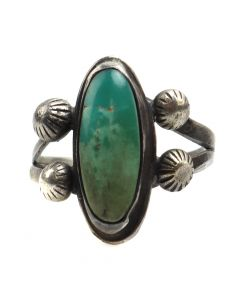 Navajo Turquoise and Silver Ring c. 1940s, size 6 (J12118)
