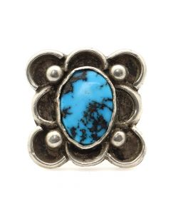 Navajo Turquoise and Silver Ring c. 1940s, size 6.5 (J12137)