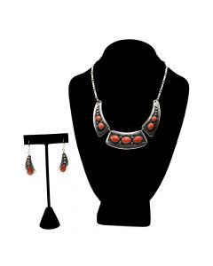 Frank Patania, Sr. and Thunderbird Shop - Coral and Silver Necklace and Hook Clasp Earrings Set c. 1960s (J12155)