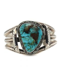 Navajo Turquoise and Silver Bracelet with Stamped Designs c. 1960s, size 6.5 (J12156)