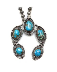 "Navajo Turquoise and Silver Squash Blossom Necklace c. 1950s, 21"" length (J12157)"