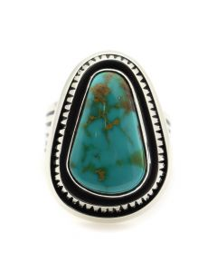 Leonard Nez - Navajo Contemporary Royston Turquoise and Sterling Silver Ring, size 8 (J12159)