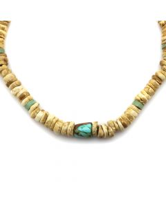 "Navajo Hand-Drilled Bone and Turquoise Necklace c. 1940s, 19"" length (J12163)"