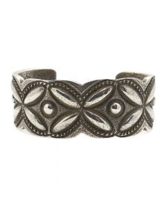 Chris Billie - Navajo Contemporary Sterling Silver Bracelet with Stamped Design, size 6.75 (J12167)