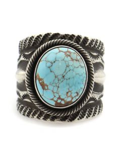 Chris Billie - Navajo Contemporary Number 8 Turquoise and Silver Ring with Stamped Design, size 8 (J12172) 1