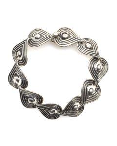 Mexican Taxco Silver Link Bracelet c. 1960s, size 7 (J12194)