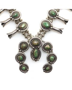 "Navajo Turquoise and Silver Squash Blossom Necklace c. 1950s, 22"" length (J12196)"