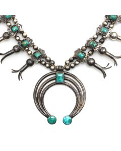 "Navajo Blue Gem Turquoise and Silver Squash Blossom Necklace c. 1940s, 25"" length (J12197)"