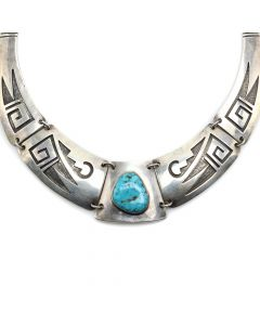 "Hopi Guild Turquoise and Silver Necklace c. 1930-40s, 14"" length (J12205)"