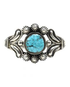 Navajo #8 Turquoise and Sterling Silver Bracelet c. 1980s, size 6 (J12206)