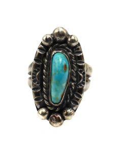 Navajo Turquoise and Silver Ring c. 1950s, size 5.25 (J12230)