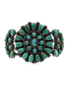 Navajo Turquoise Cluster and Silver Bracelet c. 1950s, size 6 (J12243)