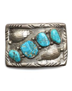"Navajo Turquoise and Silver Belt Buckle with Leaf Design c. 1960s, 1.125"" x 3"" (J12245)"