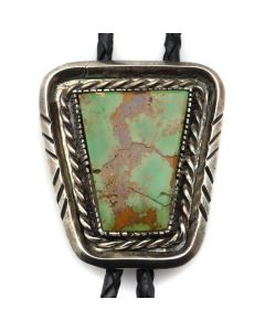 "Navajo Turquoise and Silver Bolo Tie c. 1960s, 2"" x 1.5"" (J12258)"