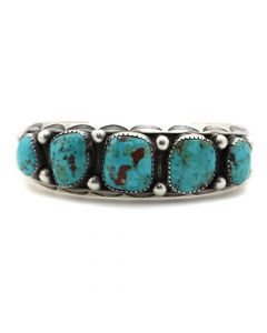 Navajo Turquoise and Silver Bracelet c. 1920s, size 6.5 (J12263)