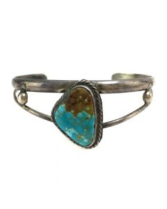 Navajo Turquoise and Silver Bracelet c. 1960s, size 6.375 (J12271)