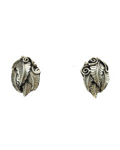 "Navajo Silver Post Earrings with Feather Design c. 1970s, 0.875"" x 0.625"" (J12279)"