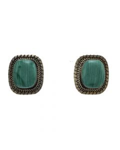 "Mexican Silver and Green Stone Post Earrings c. 1980s, 1"" x 0.875"" (J12282)"