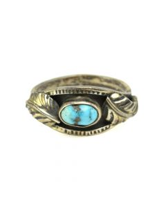 Ramon Platero - Navajo Turquoise and Silver Ring with Feather Design c. 1950s, size 8.5 (J12286)