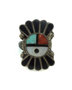 Zuni Multi-Stone Channel Inlay and Silver Sunface Kachina Ring c. 1950s, size 4.5 (J12287)