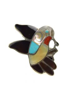 Ella Gia - Zuni Multi-Stone Channel Inlay and Silver Hummingbird Ring c. 1950s, size 7.25 (J12289)